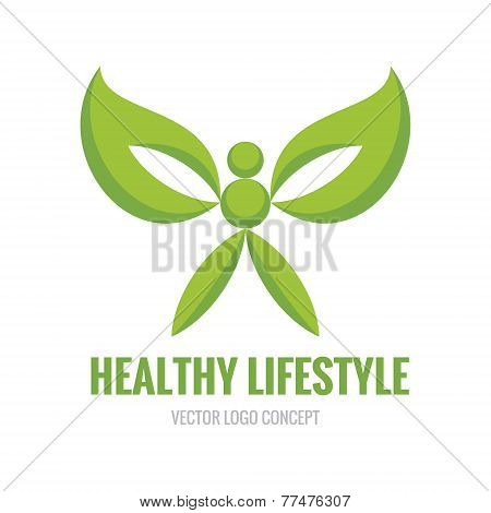 Healthy Lifestyle - vector logo concept illustration. Human character.