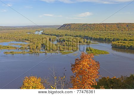 Spectacular View Of A River Confluence In Autumn