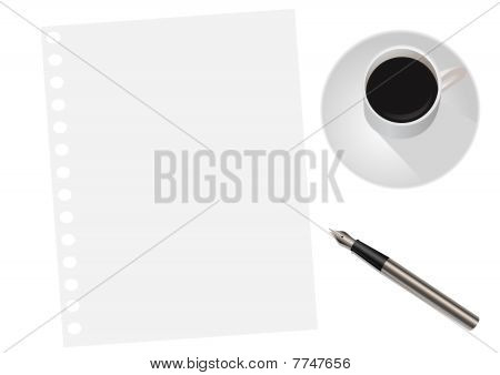 Illustration of a white sheet and a coffee cup