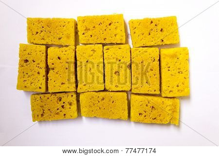 South Indian sweets or dessert called Mysore pak made from gram flour, sugar and clarified butter