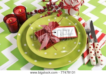 Bright Colorful Modern Christmas Children Family Party Table Place Settings In Lime Green, Red And W