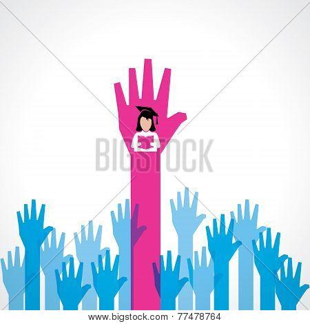 Graduate girl in male crowd stock vector
