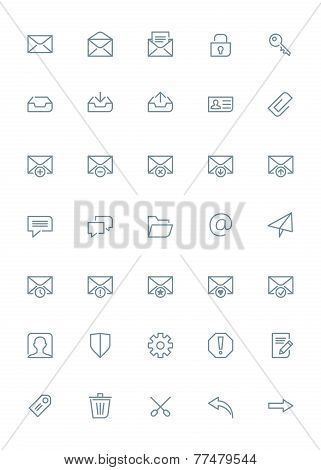 Thin line mail icons set for web and mobile apps. Gray icons on white background. Message, envelope,