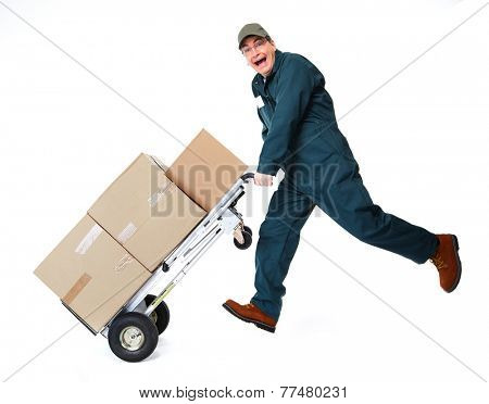 Happy postman running with parcel. Delivery man.