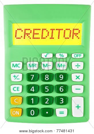 Calculator With Creditor On Display