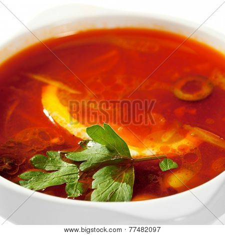 Soup - Solyanka. Dish of Stewed Cabbage and Meat with Spices and Lemon