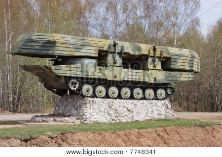 military pontoon machine tracked on a pedestal
