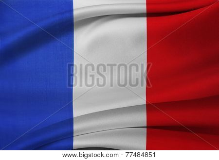 Closeup of silky French flag