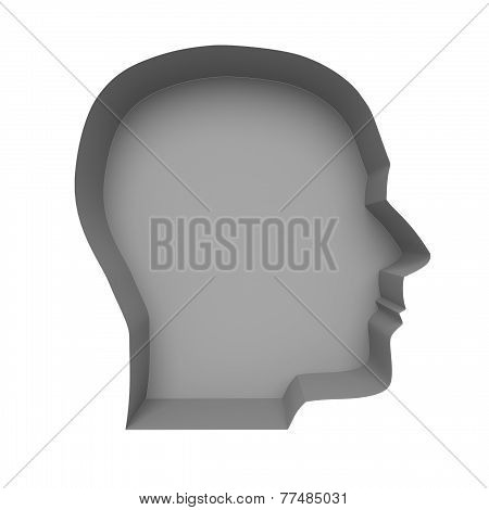 Profile Of A Human Face On A White Background. Illustration Created In 3D