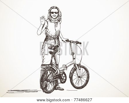 Woman with bicycle waving hand, Vector sketch, Hand drawn illustration