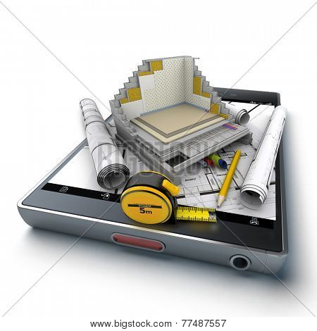 3D rendering of a smart phone with a house section showing all technical details, surrounded by blueprints and a tape measure