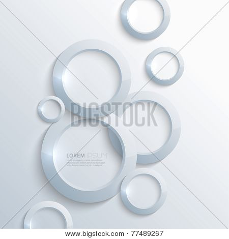 Blue plastic shiny, glossy  rings on blue background