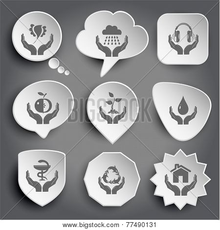 bird in hands, weather, headphones, apple, plant, protection blood, pharma symbol, protection sea life, home. White vector buttons on gray.