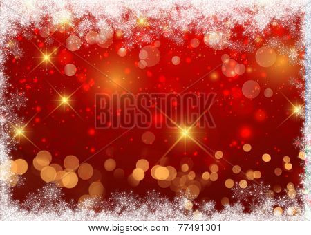 Christmas background with decorative snowflake border