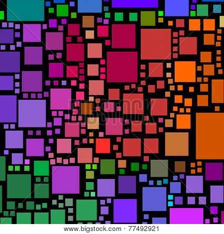 Abstract lots of colorful square shapes on a black background.