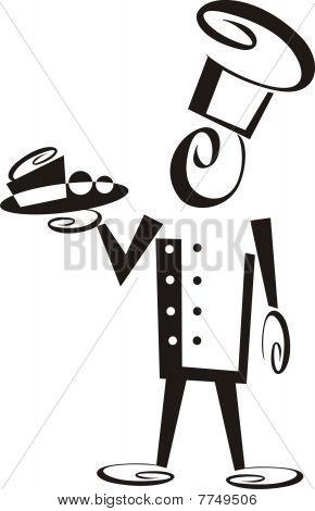 Snappy hombre de Chef que sirve cena plato de postre