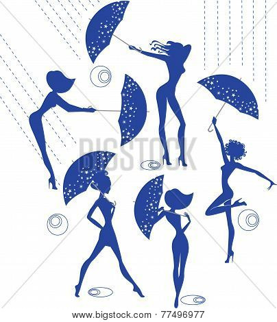 silhouettes of girls with umbrellas