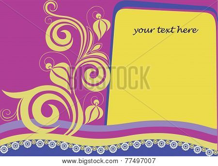 decorative card with a letter and flower element