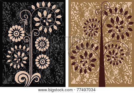decorative floral elements on grunge texture