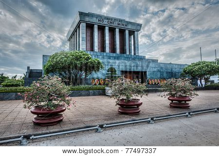 HANOI, VIETNAM - JUNE 11, 2011: Ho Chi Minh mausoleum. Ho Chi Minh was a Vietnamese Communist revolutionary leader,  prime minister and president of Vietnam. High dynamic range image.