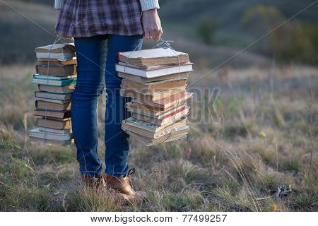 Girls Hands Holding Books