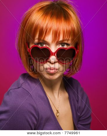 Beautiful Red Girl With Sunglasses
