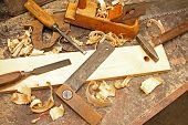 foto of workbench  - old vintage construction tools on the workbench - JPG