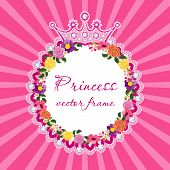 picture of queen crown  - Flower frame with crown for little princess Vector - JPG