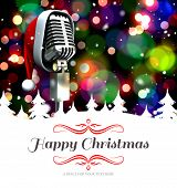 stock photo of cursive  - border against microphone with santa hat - JPG