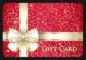 picture of glitz  - Red glossy gift card with cream ribbon composed from glitters - JPG