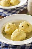stock photo of penicillin  - Hot Homemade Matzo Ball Soup in a Bowl - JPG