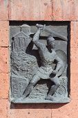 foto of building relief  - relief picture on building near Etchmiadzin monastery - JPG
