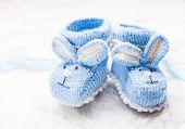 image of booty  - Knitted blue baby booties with rabbit muzzle for little boy - JPG