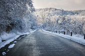 stock photo of icy road  - Winter road through icy forest after ice storm and snowfall - JPG