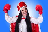 stock photo of superwoman  - Woman queen with boxing gloves - JPG