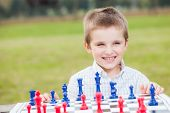 picture of wood pieces  - Elegant young boy in white shirt learning to play chess with blue and red chess pieces on wood table in the park - JPG