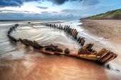 image of wrecking  - The Sunbeam ship wreck on the beach in Co - JPG