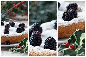 stock photo of blackberries  - Collage with details of blackberry cake on Christmas table decorated with blackberries and holly - JPG