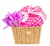 Постер, плакат: basket with meadow saffron and gift box