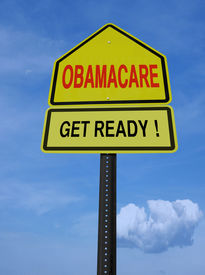 stock photo of lobbyist  - obamacare get ready conceptual directional post over blue sky - JPG