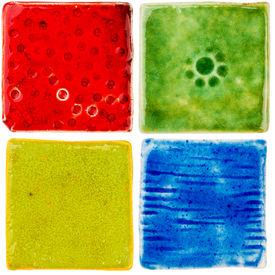 picture of raku  - Handmade glazed ceramic tiles isolated on white - JPG