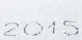 stock photo of freezing  - Message handwritten in fresh powdery snow for 2015 - JPG