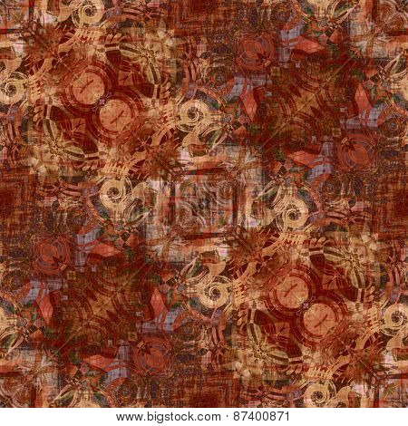 art deco ornamental vintage pattern, S.33, monochrome background in brown and light orange colors