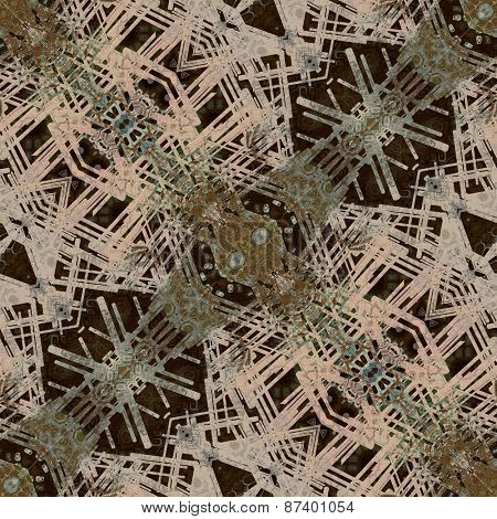 art deco ornamental vintage pattern, S.27, monochrome background in beige, green grey and brown black colors
