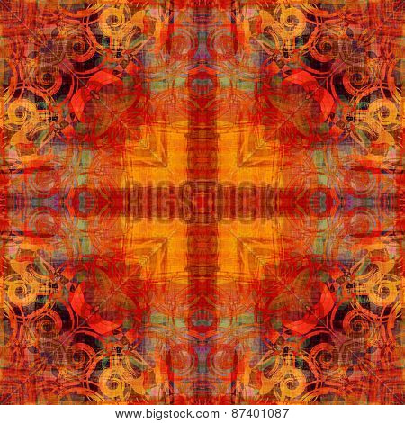 art deco ornamental vintage pattern, S.34, background in bright orange, gold and blue colors