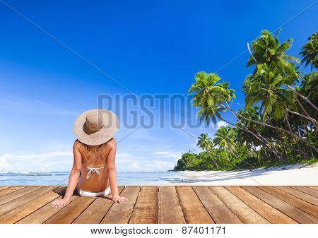 Woman Sunbathe Sunny Summer Beach Relaxing Concept