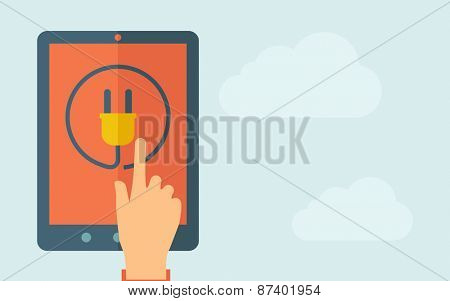 A hand is touching the screen of a tablet with plug icon. A contemporary style with pastel palette, light blue cloudy sky background. Vector flat design illustration. Horizontal layout with text space