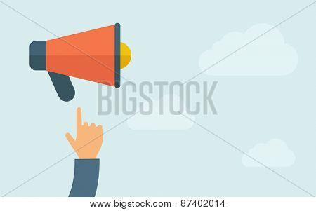 A hand pointing to megaphone. A contemporary style with pastel palette, light blue cloudy sky background. Vector flat design illustration. Horizontal layout with text space on right part.