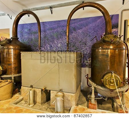 Alembics Or Stills In A Perfume Distillery