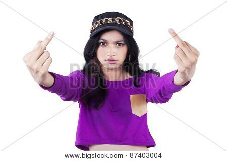 Angry Girl Showing Middle Fingers